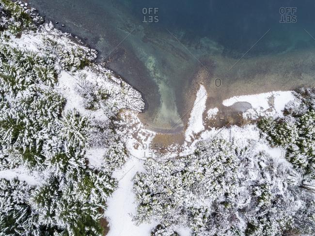 Aerial view of the shoreline of Moreno Lake, Bariloche, Argentina in winter