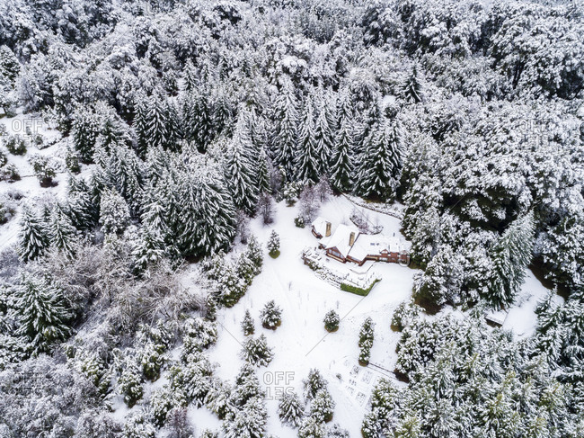Snow covered trees surrounding house in Bariloche, Argentina