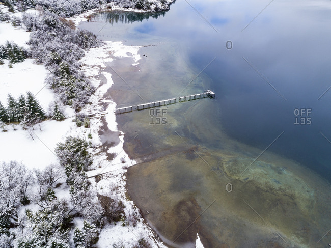 Elevated view of quay on Moreno Lake, Bariloche, Argentina