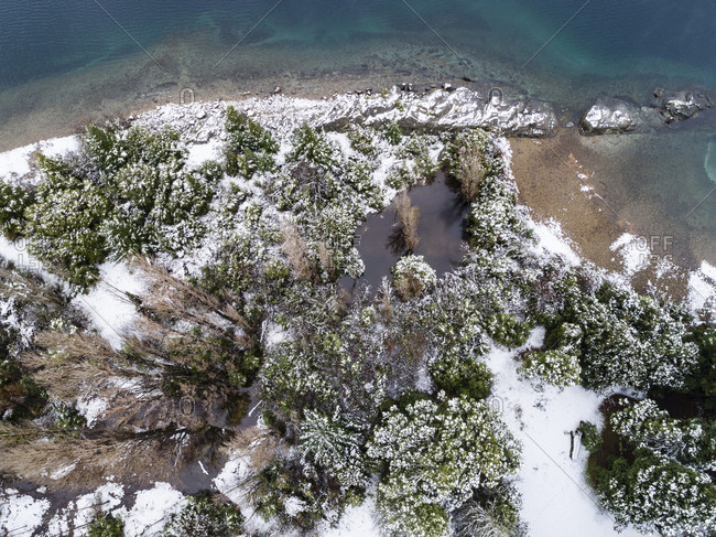 Aerial view of snowy trees on the shore of Moreno Lake, Bariloche, Argentina