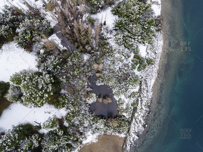 Aerial view of snow on the shore of Moreno Lake, Bariloche, Argentina