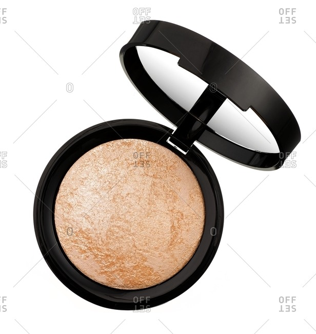 Shimmery eye shadow on a white background