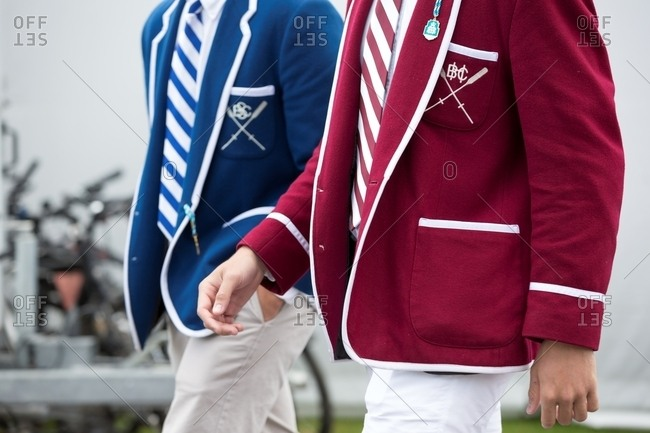 London, England - June 27, 2018: Two men wearing stylish blazers