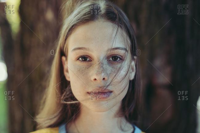 Portrait of teen with freckles, Minsk, Belarus