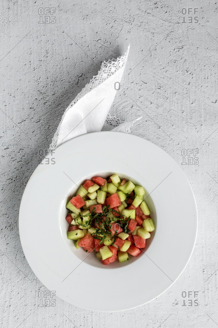 Creative layout made of fresh water melon and melon
