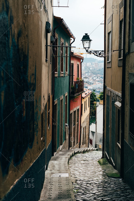 View to small narrow street in old European town