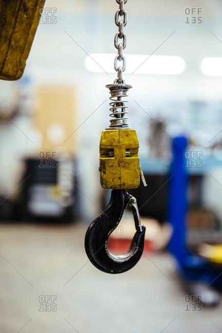 Hook in a mechanical workshop