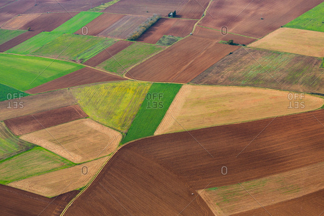 Amazing aerial view of nice farming fields in countryside