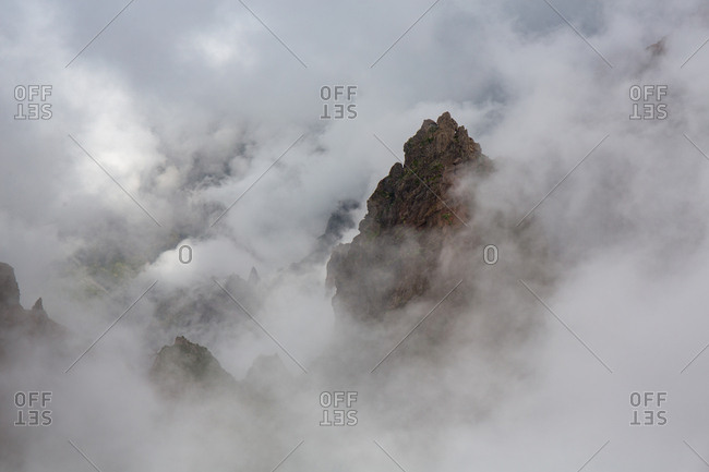 Landscape of cloudy mountains