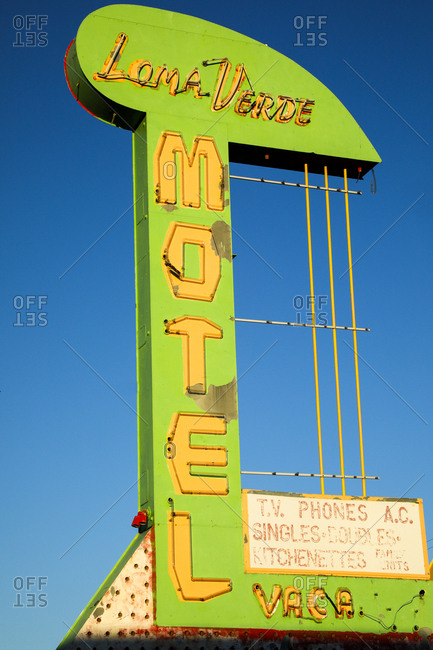 Route 66, New Mexico - June 19, 2018: Vintage motel neon signage