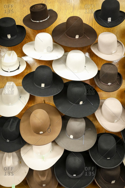 Route 66, New Mexico - June 19, 2018: Hats on display in store