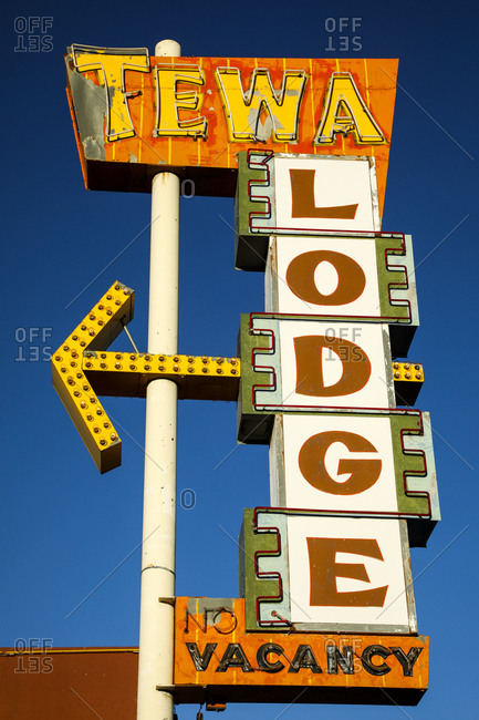 Route 66, New Mexico - June 19, 2018: Retro motel sign from below