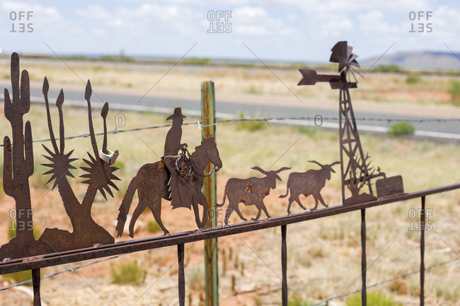 Rusty ranch fencing decor on sunny day