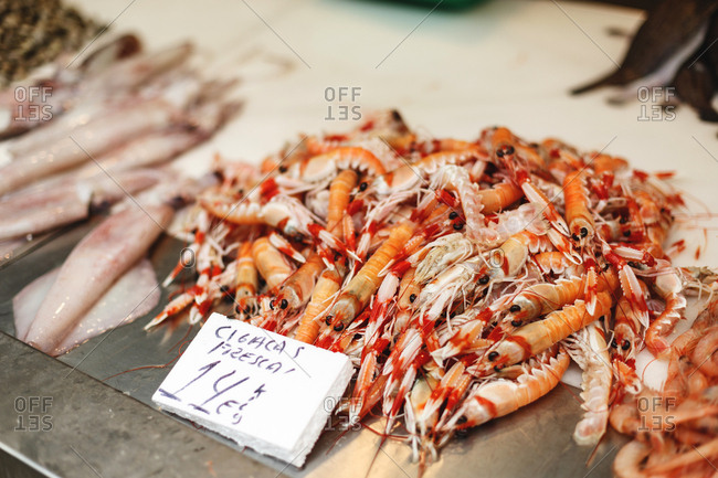 Prawns for sale in a market