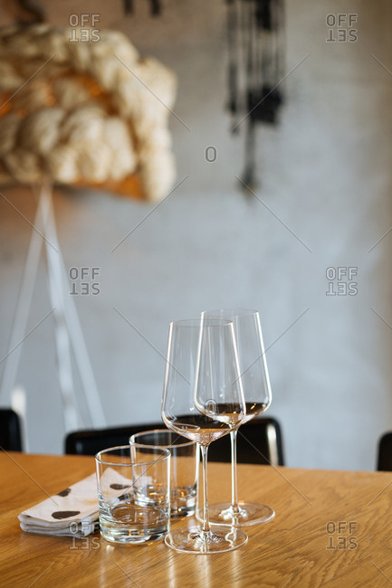 Drinking glasses on a table