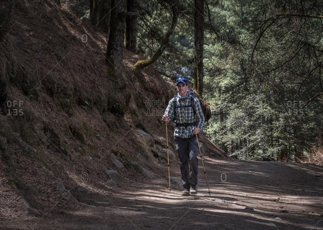 Nepal- Solo Khumbu- Everest- Sagamartha National Park- Mountaineer hiking with rucksack