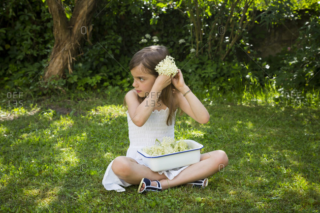 Little girl sitting on meadow in the garden with bowl of picked elderflowers