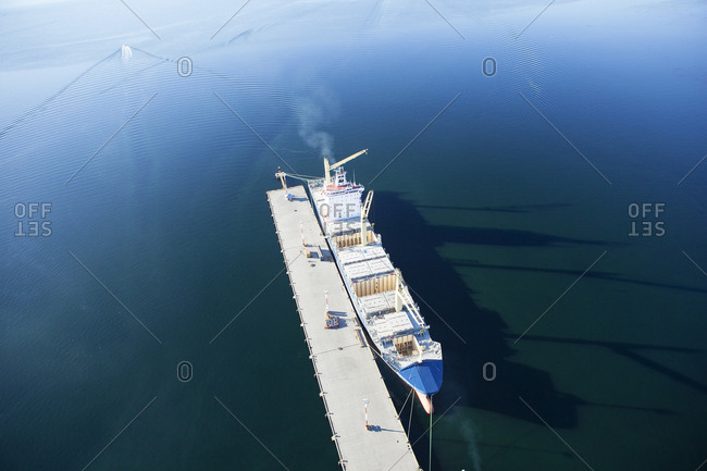 Argentinia- Tierra del Fuego- Ushuaia- harbor- container ship
