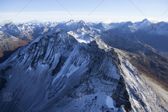 Argentina- Tierra del Fuego- Ushuaia- Aerial view of snow covered mountains