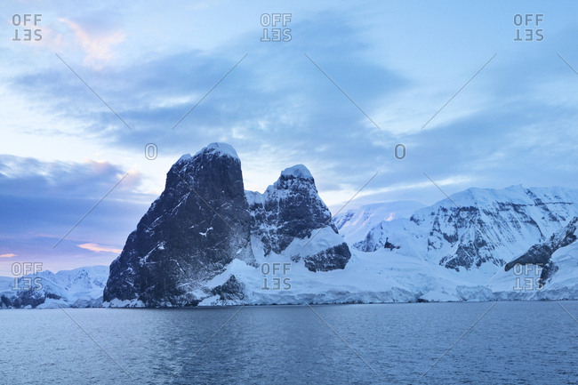 Antarctic- Antarctic Peninsula- snow covered mountains with ice and glacier in the morning