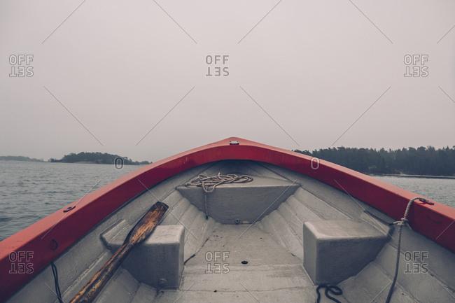 Sweden- Sodermanland- boat on the sea in archipelago landscape
