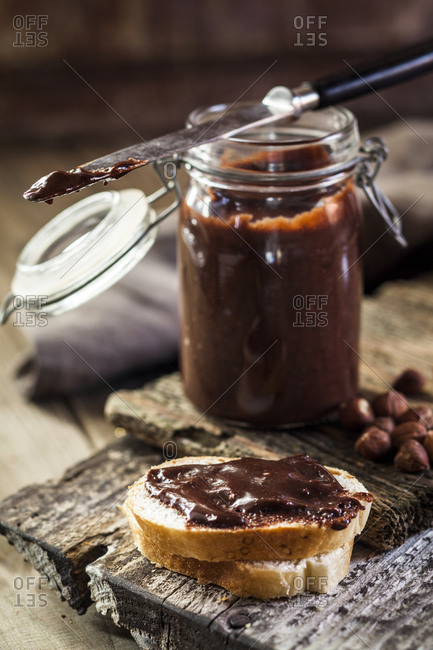 Homemade chocolate spread on bread slice