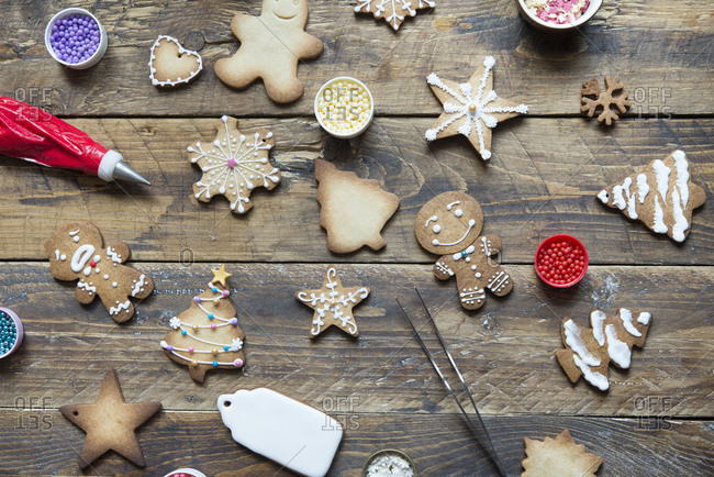 Various Gingerbread Cookies on wood