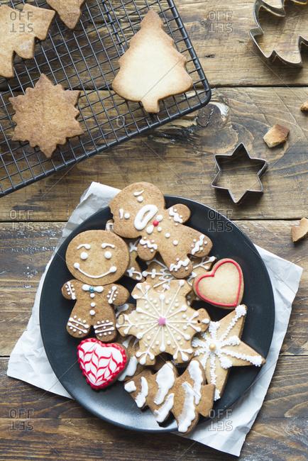 Plate of various Christmas cookies