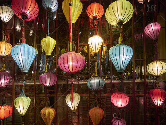 Collection of colorful silk lanterns. Hoi An, Vietnam.