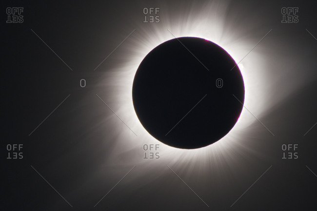 The solar corona during a total solar eclipse, viewed from Wyoming