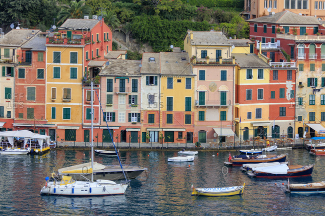 October 9, 2015: Harbour and typical coloured houses, Portofino, province of Genoa, Liguria, Italy, Europe