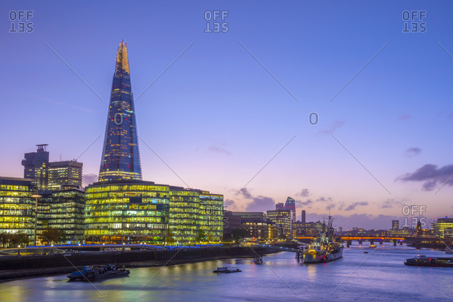 October 16, 2017: The Shard and City Hall by River Thames, Southwark, London, England, United Kingdom, Europe