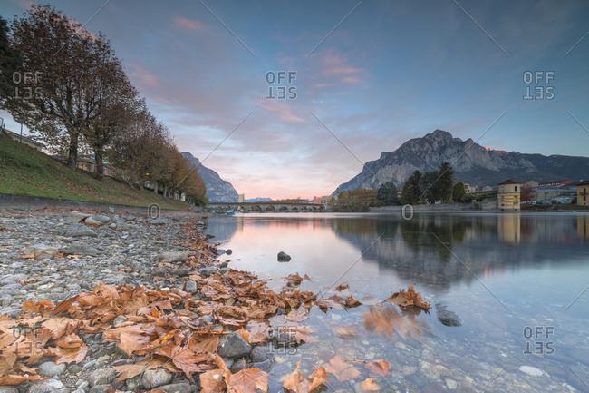 Sunrise on River Adda, Lecco, Lombardy, Italy, Europe