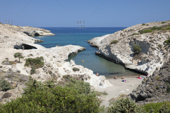 June 25, 2017: Kapros beach on north east coast, Pachena, Milos, Cyclades, Aegean Sea, Greek Islands, Greece, Europe