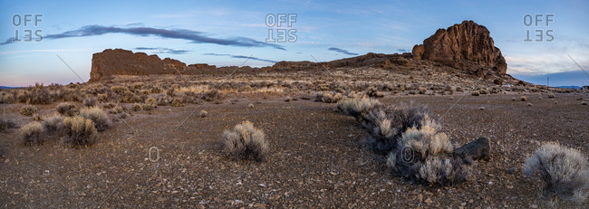 Sagebrush and a large rock formation before sunrise in the desert, Oregon, United States of America, North America
