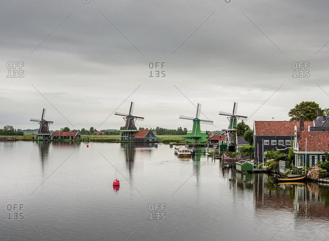 July 29, 2017: Windmills in Zaanse Schans, Zaandam, North Holland, The Netherlands, Europe