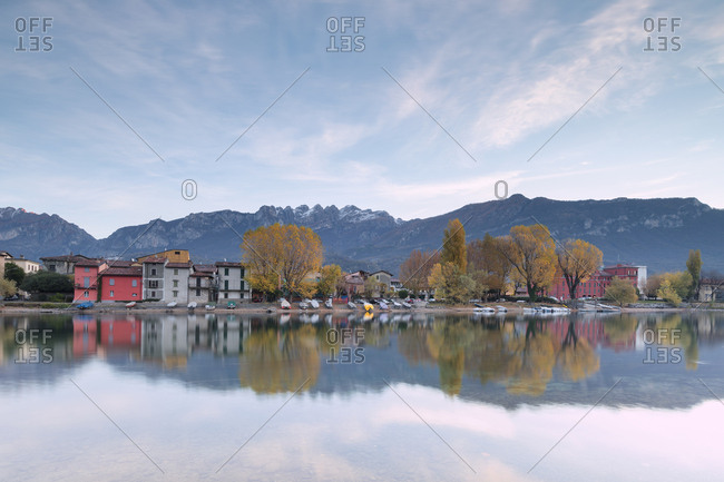 November 11, 2017: Sunrise on Mount Resegone and Pescarenico, Lecco province, Lombardy, Italy, Europe