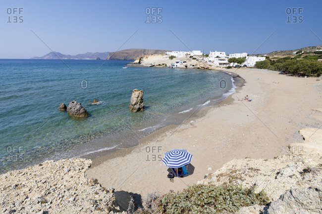 June 25, 2017: Pachena beach with clear turquoise water, Pachena, Milos, Cyclades, Aegean Sea, Greek Islands, Greece, Europe