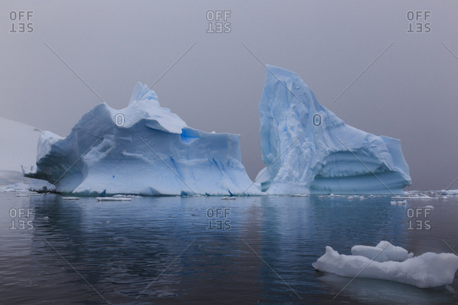 Blue icebergs in snowy weather, from sea level, Waterboat Point, Paradise Bay, Graham Land, Antarctic Peninsula, Antarctica, Polar Regions