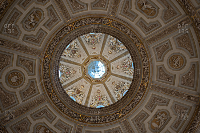 September 2, 2017: Detail ceiling in the entrance hall of the Kunsthistorisches Museum, the famous history of art museum in Vienna, Austria, Europe