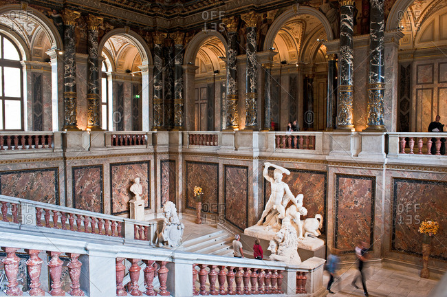 September 2, 2017: Kunsthistorisches Museum, the Main Staircase and Antonio Canova�s statue of Thesus Slaying the Centaur, Vienna, Austria, Europe
