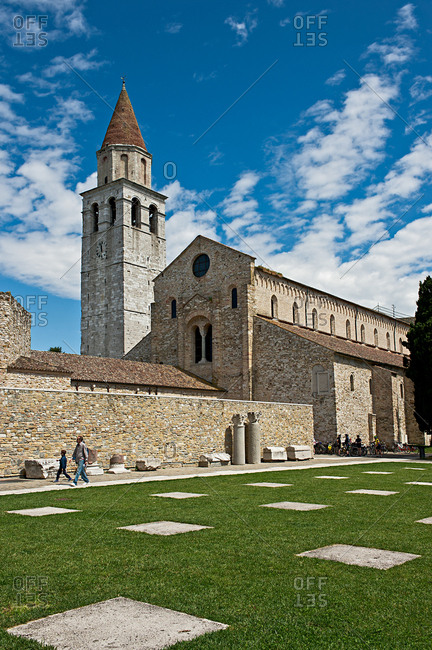 May 15, 2016: The  Santa Maria Assunta Basilica, Patriarchal Basilica of Aquileia, symbol of the city and Unesco Heritage. Friuli Venezia Giulia, Italy, Europe