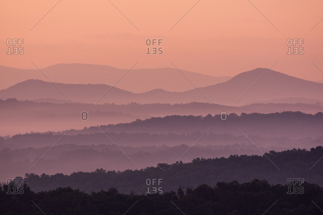 Fog at sunrise in Blue Ridge Mountains