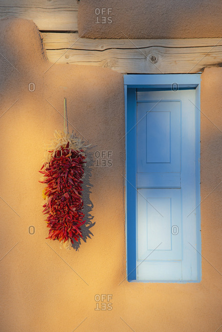 Red chilis on adobe wall