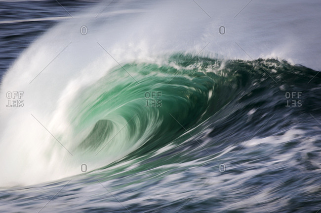 Powerful wave breaking in the ocean