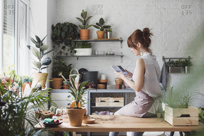 Female florist sitting at her workshop and reading on tablet