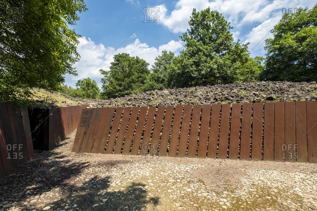 July 11, 2018: Landscape architecture in the public park Pedra Tosca near the city of Olot in the natural area of La Garrotxa in Catalonia Spain