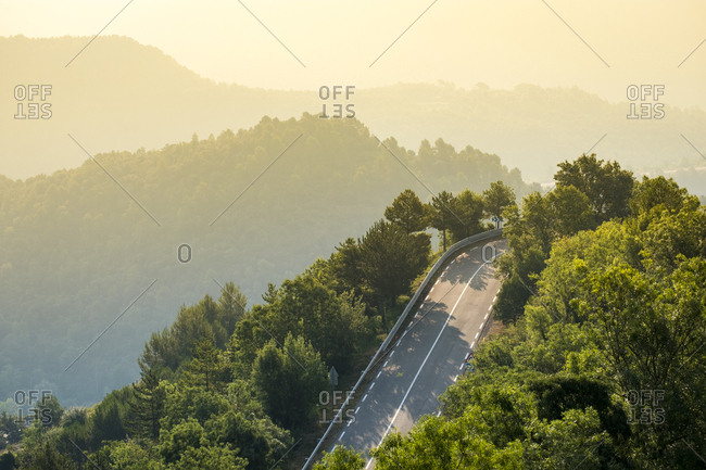 Aerial view of a highway in the Catalan pre-Pyrenees in Spain Europe