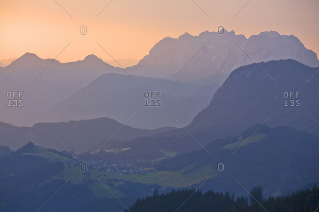 Austria, Tyrol, Hinterthiersee and Kaiser Mountains in the morning light