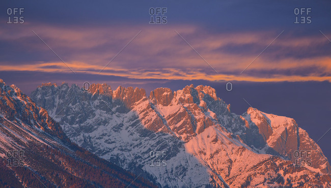 Austria, Tyrol, Wilder Kaiser, Turlturme in the afterglow